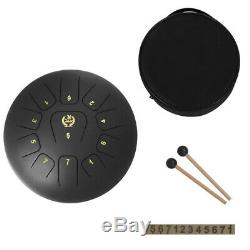 Stainless Steel 12'' 11 Notes Tongue Drum Black Hand Percussion Instrument