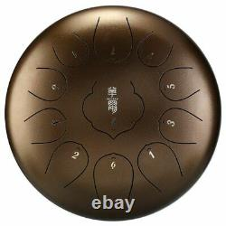 Steel Tongue Drum 10 Inch 11 Notes Hand Pan Tank With Drumsticks Carrying Bag