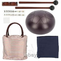 Steel Tongue Drum 10in 8Tone Ethereal Sanskrit Handpan Instrument Drum Mallets