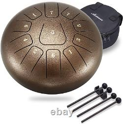Steel Tongue Drum 11 Notes 10 Inch Asmuse Pan Drum Percussion Instrument with