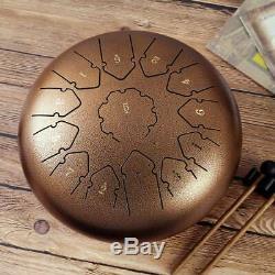 Steel Tongue Drum 12 13 Notes Handpan Drum Instrument Drum bronze coloured