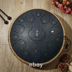 Steel Tongue Drum 12.5 inch 15 Notes Percussion Instrument With Drum Mallets Bag