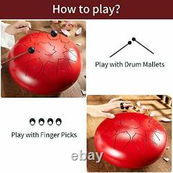 Steel Tongue Drum 13 Notes 12 Inches Hand Pans Drum for 12 inch Red