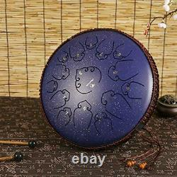 Steel Tongue Drum 14 Inch 15 Note Ultra Wide Range Percussion Instrument Lotu