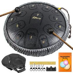 Steel Tongue Drum 14 Inch 15 Tones Tank Drum C Key Percussion with Drum Mallets