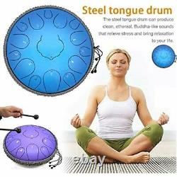 Steel Tongue Drum, 15 Notes 13 Inches Percussion Instrument D-Key Aqua Blue