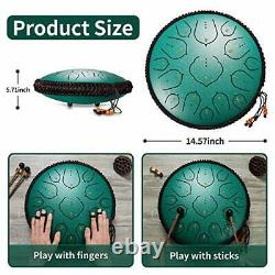 Steel Tongue Drum D-Key Percussion Instrument 15 Notes 14 Inches Handpan Drum