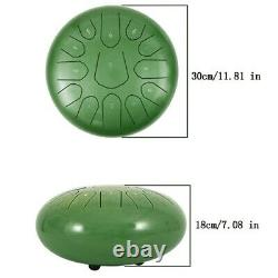 Steel Tongue Drum Handpan Drum 13 Notes Green Meditation with Bag Music Book