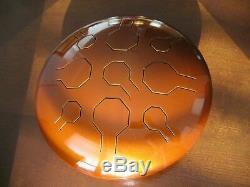 Steel Tongue Drum, Handpan, EDELSTAHL, Earth Double VibeDrum-P, 18 Noten, 31 cm