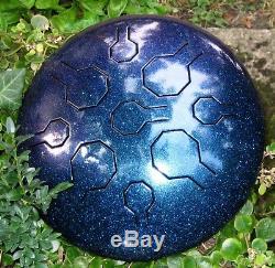 Steel Tongue Drum, Handpan, EDELSTAHL Stardust Single Vibedrum-B -9 Töne-31 cm