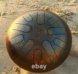Steel Tongue Drum Handpan Om Ganesha Engraving Sound Healing Meditation Ø 240 mm