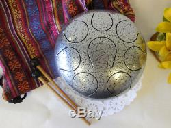 Steel Tongue Drum Handpan Tank, WuYou 8 Notes, 8in, FREE Bag and Mallets