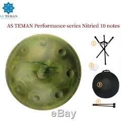 Steel Tongue Drum Sheet Music Hand Pan Drum 10 Note with Drum Mallet Carry Bag