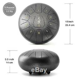 Steel Tongue Drum Tank Drum Handpan Drum 11 Notes 10 Inches Percussion Instru