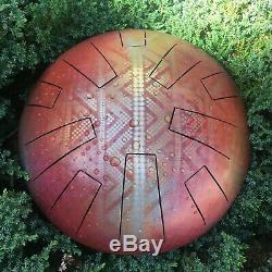 Steel Tongue Drum- custom made in F Minor- Visionary Art, Tank Drum, Handpan