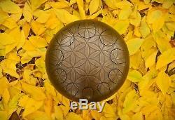 Steel tongue drum, steel drum, tank drum, dream drum, With Etched Flower