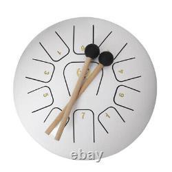 Tongue Drum 11 Note Hand Percussion 12 Inch Handpan Drum White