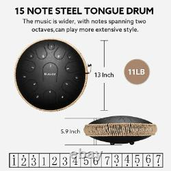 Ulalov Drum Steel Tongue Hand-pan Drum 15 Note with Travel Bag Finger Pick Gift