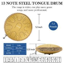 Ulalov Padded Steel 13 Tongue Drum for 15 Notes Gift Picks Book Adults Mallets
