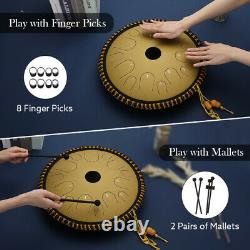 Ulalov Percussion Steel Tongue Drum, 14 Note with Book Mallet Finger Pick Women
