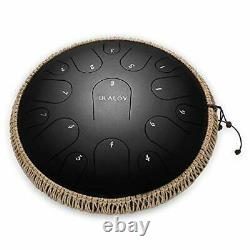 Ulalov Steel Tongue Drum 13 Inch 15 Notes-Handpan Drum Percussion Steel Drums
