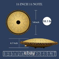 Ulalov Steel Tongue Drum 14 Inch 14 Note with Finger Pick Mallet Book Ideal for