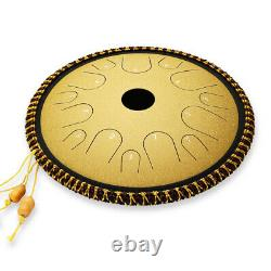 Ulalov Steel Tongue Handpan Drum 14 Inch with Mallet Padded Bag Finger Pick Book