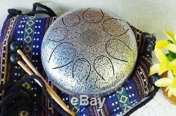 WuYou 10 Inch Steel Tongue Drum Silver 8 Note Percussion Steel Drum Instrument