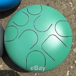 WuYou 10 Steel Tongue Drum/handpan 25cm 8 notes, C Major Natural Scale, GREEN