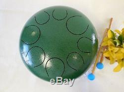 WuYou 12 Steel Tongue Drum Chakra Handpan Tank Drum, Speciel Notes, Green