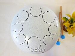 WuYou 12in Large Steel Tongue Drum Chakra Handpan Tank Drum Speciel Notes White
