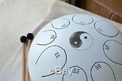 WuYou 12in Steel Tongue Drum Chakra Handpan Tank Drum Pentatonic drum, White