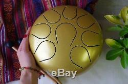 WuYou 9in 22cm Steel Tongue Drum Handpan Chakra Tank, Free Bag+ 2mallets, Gold