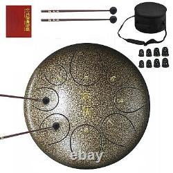 ZHRUNS Steel Tongue Drum, Hand Pan Drum 8 Notes 10 Inches, Percussion Steel D