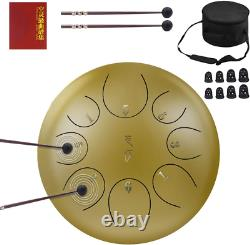 ZHRUNS Steel Tongue Drum, Hand Pan Drum 8 Notes 10 Inches, Percussion Steel Drum